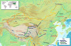 The map of the railway from Lhasa to Xining