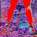 Mon amie Lady Roxy de l'Argentine avec permission / Jardinage en talons hauts - Gardening in high heels .  Effet de négatif et jambes en rouge.....
