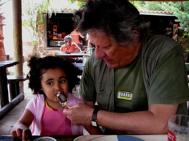 Rafaela + grandfather, coffee break