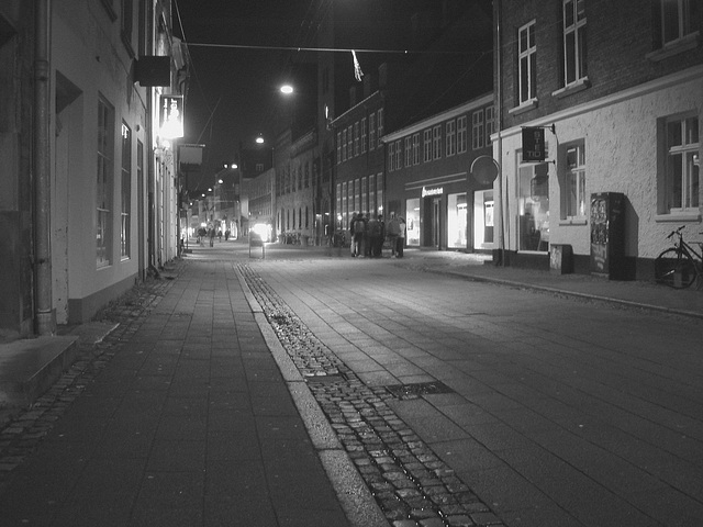 Un soir à Helsingor ....../   Helsingor by the night........Danemark / Denmark.   Octobre 2008 -  N & B