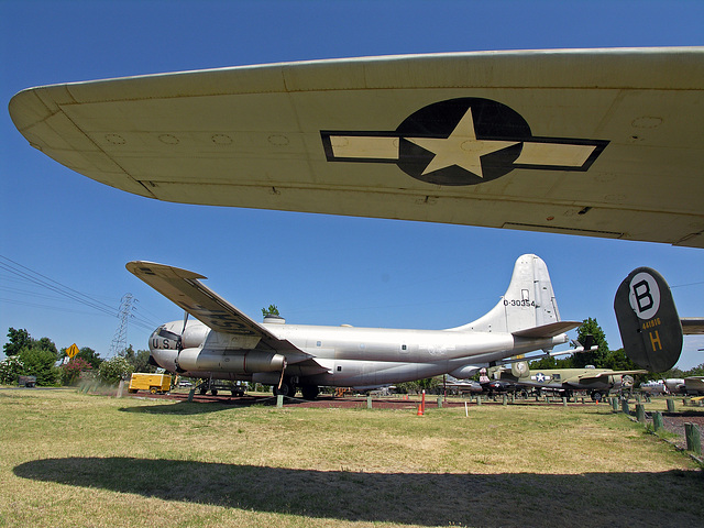 Consolidated B-24M Liberator wing - Boeing KC-97-L Stratofreighter in background (8340)