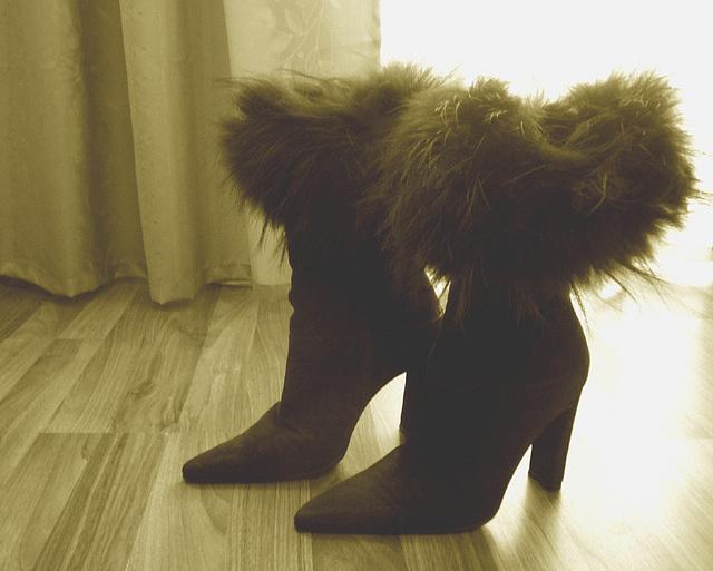 Elsa's friend fur high-heeled boots .  January 2009. Sepia