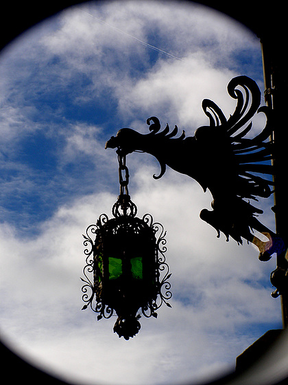 Eagle with a green lamp, pharmacy, iron