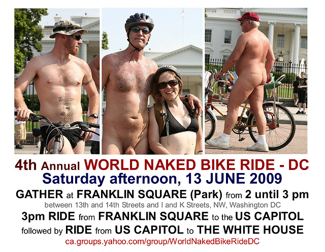 4th Annual World Naked Bike Ride / DC - Saturday, 13 June 2009 Flyer