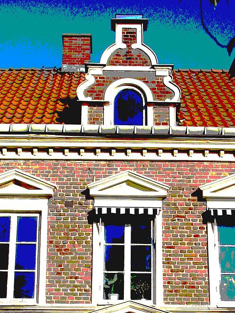 Typical Swedish door & windows - Porte & fenêtres typiquement suédoises /  Ängelholm - Suède / Sweden.   23 octobre 2008- Postérisée et couleurs ravivées