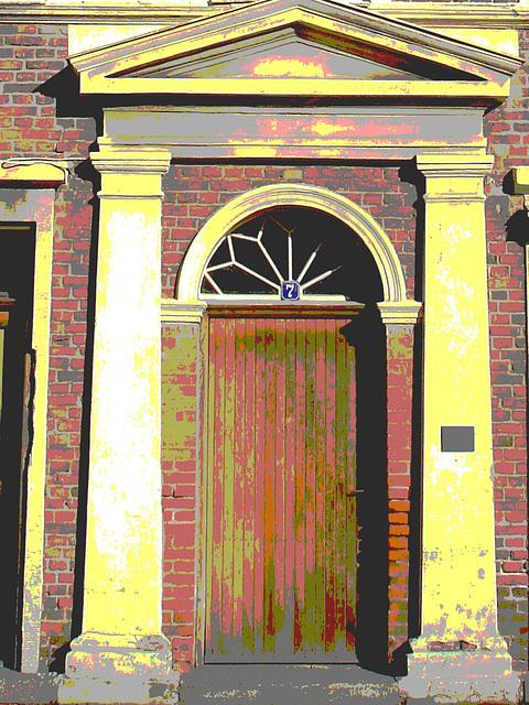 Typical Swedish door & windows - Porte & fenêtres typiquement suédoises /  Ängelholm - Suède / Sweden.   23 octobre 2008- Porte numéro 7.- Postérisée