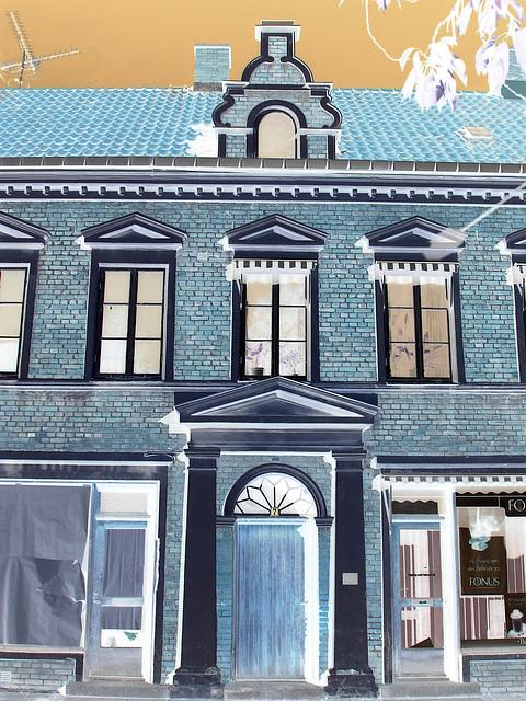 Typical Swedish door & windows - Porte & fenêtres typiquement suédoises /  Ängelholm - Suède / Sweden.   23 octobre 2008-  Effet de négatif