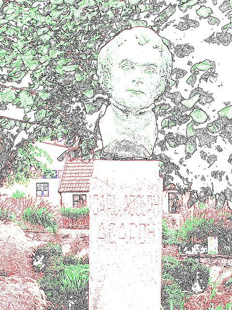 La tête de Carl !  Carl Adolph Agardh head statue- Båstad.  Suède - Sweden.   21-10-2008-  Contours de couleurs ravivées