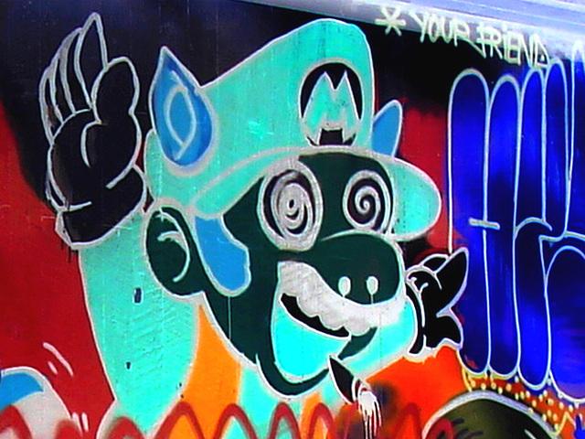 """Pont et graffitis """" Mario Bros """" bridge graffitis  /  Ängelholm - Sweden / Suède - 23 octobre 2008- Effet de négatif et couleurs ravivées."""
