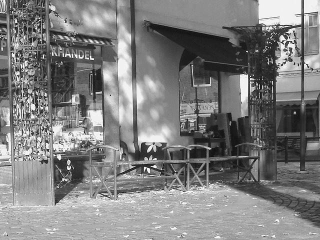 Specialbokhandle twin benches /   Bancs jumeaux - Ängelholm / Suède - 23 0ctobre 2008-  B & W
