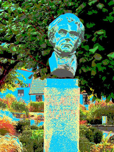 La tête de Carl !  Carl Adolph Agardh head statue- Båstad.  Suède - Sweden.   21-10-2008 Carl Adolph Agardh - Postérisé avec touche de bleu.
