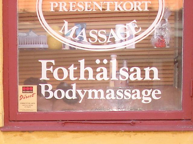 Massage suédois / Fothälsan bodymassage sign -  Laholm / Suède - Sweden.  25 octobre 2008