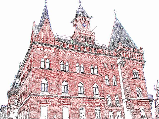 Architecture Viking contemporaine / Majestuous archtectural building  -  Helsingborg  /  Suède - Sweden.  22 octobre 2008  - Contours de couleurs ravivées