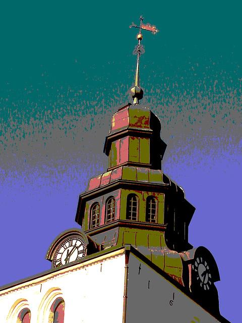 Laholms kirka ( Church & cemetery) - Église et cimetière /   Laholm -  Sweden / Suède.  25 octobre 2008  -  Postérisation