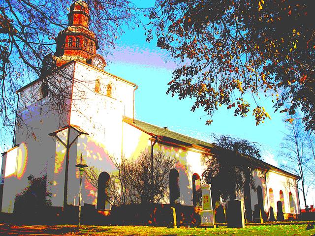 Laholms kirka ( Church & cemetery) - Église et cimetière /   Laholm -  Sweden / Suède.  25 octobre 2008 - Postérisation + couleurs ravivées
