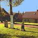Laholms kirka ( Church & cemetery) - Église et cimetière /   Laholm -  Sweden / Suède.  25 octobre 2008 -  Légèrement  postérisée avec ciel bleu ajouté