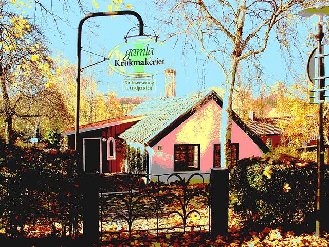 Laholms kirka ( Church & cemetery) - Église et cimetière /   Laholm -  Sweden / Suède.  25 octobre 2008-  Gamla Krukmakeriet. Postérisée