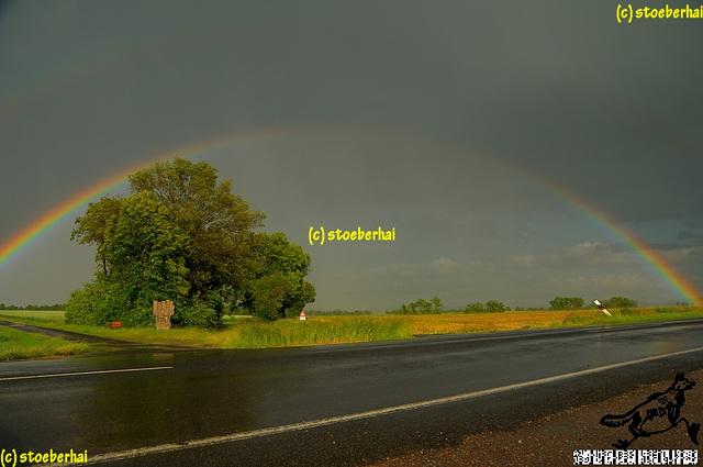 Regenbogen über dem Steigerwald