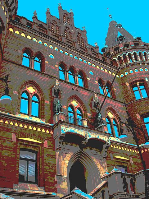 Architecture Viking contemporaine / Majestuous archtectural building  -  Helsingborg  /  Suède - Sweden.  22 octobre 2008 - Postérisée avec ciel bleu photofiltré