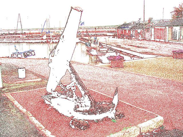 L'ancre de la chance -  Chance anchor -  Port de Båstad /  Suède - Sweden.    21-10-2008 -   Contours de couleurs