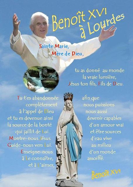Benoît XVI à Lourdes, calligraphie de Sœur Marie
