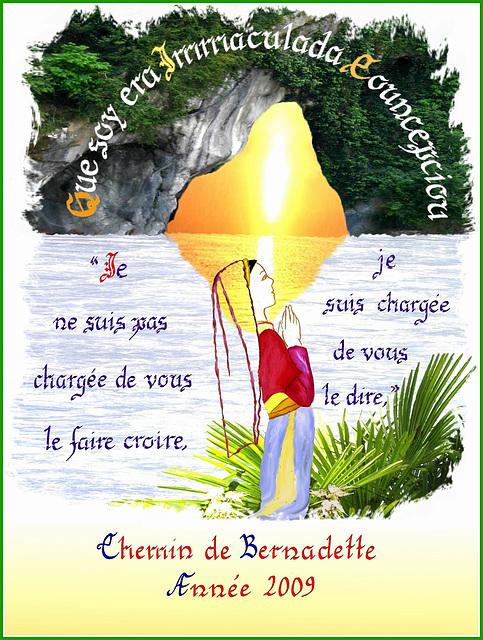 Chemin de Bernadette, calligraphie de Sœur Marie