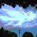 Lampadaire avec ciel et arbres  /   Street lamp with sky and trees.   Hometown  / Dans ma ville.  15 juillet 2009 - Version postérisée