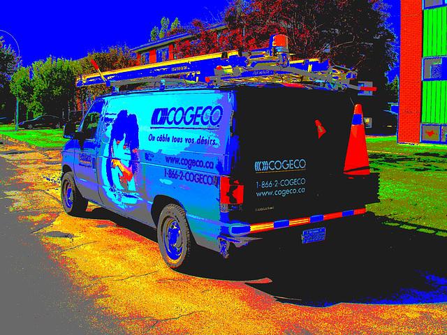 Camion coloré de la Compagnie COGECO  /   Colourful COGECO company business truck.   Hometown / Dans ma ville .  17 juillet 2009 -  Postérisation psychédélique
