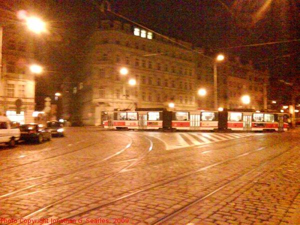 Tatra KT8 in Senovazne Namesti at Night, Prague, CZ, 2009