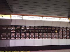 Namesti Republiky Metro Station Sign, Prague, CZ, 2009