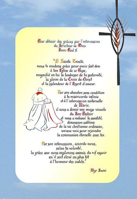 Par l'intercession de Jean Paul II