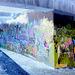 """Pont et graffitis """" Mario Bros """" bridge graffitis  /  Ängelholm - Sweden / Suède - 23 octobre 2008- Effet de négatif et couleurs ravivées"""