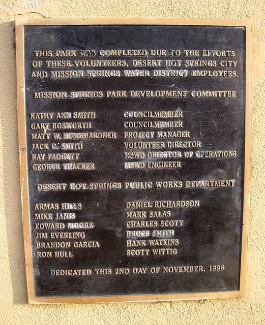 Mission Springs Park Plaque (0010)
