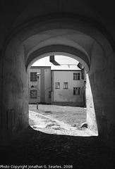 Bazilika Minor Doorway, B&W version, Samotisky, Olomouc, Olomoucky Kraj, Moravia (CZ), 2008