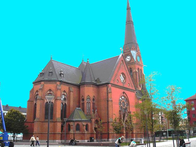 Église suédoise - Photofiltrée avec ciel bleu