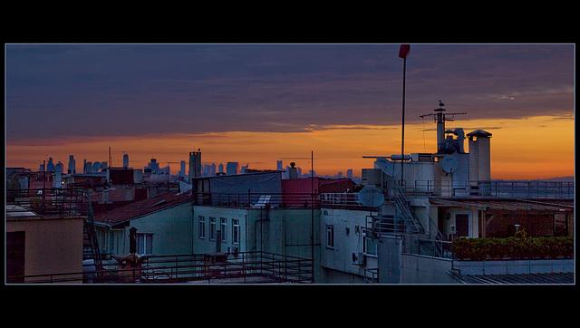 far skyline in orange morning sky