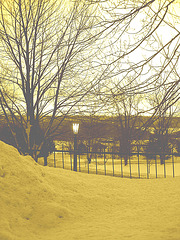 Lever de soleil sur l'abbaye de St-Benoit-du-lac /  Québec. CANADA -  7 Février 2009-Sepia