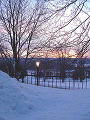 Lever de soleil sur l'abbaye de St-Benoit-du-lac /  Québec. CANADA -  7 Février 2009
