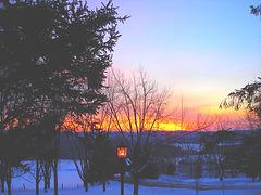 Lever de soleil sur l'abbaye de St-Benoit-du-lac /  Québec. CANADA -  7 Février 2009- Couleurs ravivées
