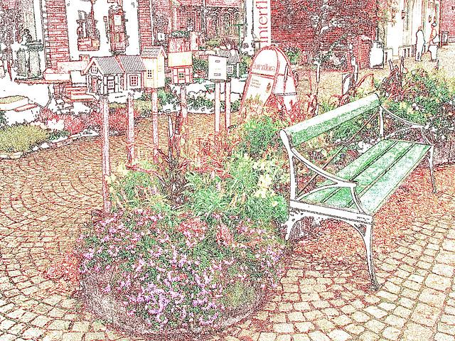 Scène de trottoir fleuri interfloré /  Interflore store scenery.   . Båstad .  Suède /  Sweden.  21 octobre 2008. .Contours de couleurs ravivées