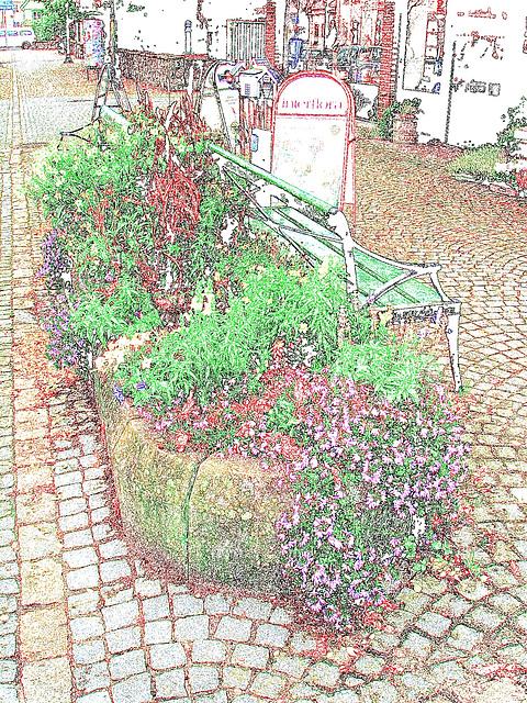 Scène de trottoir fleuri interfloré /  Interflore store scenery.   . Båstad .  Suède /  Sweden.  21 octobre 2008 - Contours de coulers ravivées