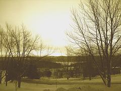 Lever de soleil sur l'abbaye de St-Benoit-du-lac /  Québec. CANADA -  7 Février 2009 - Sepia