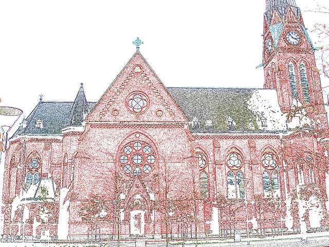 Helsingborg's church / L'église de Helsingborg  -  Suède / Sweden.  22 octobre 2008  - Colourful outlines /  Contours de couleurs