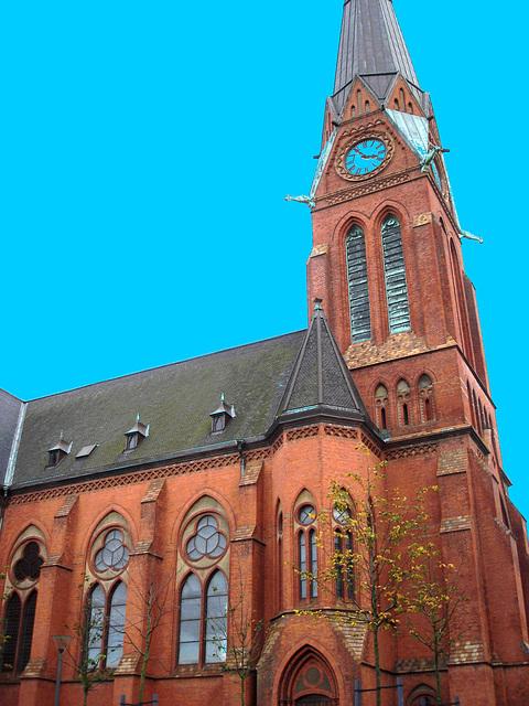 Helsingborg's church / L'église viking - Ciel bleu photofiltré