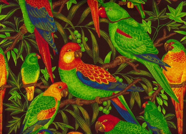 Textile Art - Paisley Perroquets