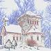 Tour St-Benoit de l'abbaye du même nom -  Région des cantons de l'est au Québec..   Février 2009- Contours de couleurs
