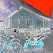Aire de stationnement pour vélos et scooters /  Train station: Bikes and scooters parking  - Båstad,  Sweden / Suède.  - 20-10-08 -  Négatif + ciel rouge ajouté