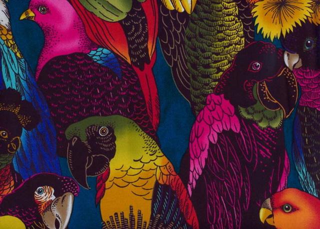 Textile Art, Paisley Tropical Birds