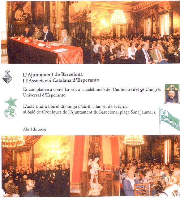 Centjariĝo de la Unua Universala Kongreso en Hispanio 1909