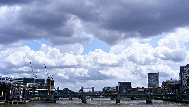Tower Bridge with clouds